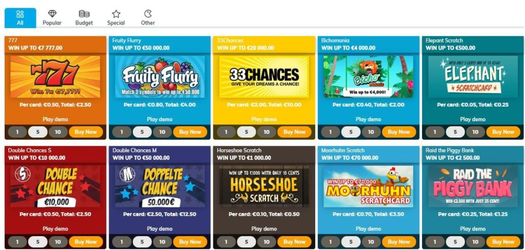online scratch cards at multilotto